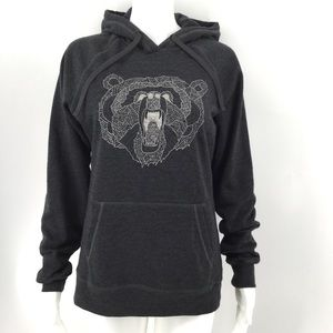 NEW NORTH FACE Hoodie M Grizzly Bear Graphic Gray